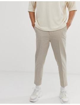 Asos Design Tapered Crop Smart Pants In Beige Seersucker Stripe by Asos Design
