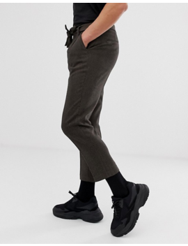 Asos Design Tapered Smart Pants In Brown Wool Mix Wide Herringbone With Tie Belt by Asos Design