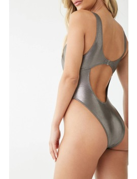 Metallic Cutout One Piece Swimsuit by Forever 21