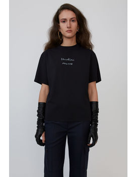 T Shirt In Kastiger Passform Schwarz by Acne Studios