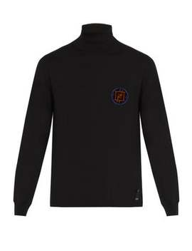 Ff Logo Patch Roll Neck Cashmere Sweater by Fendi