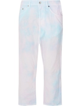 Tie Dyed Cropped Cotton Poplin Pants by Mm6 Maison Margiela