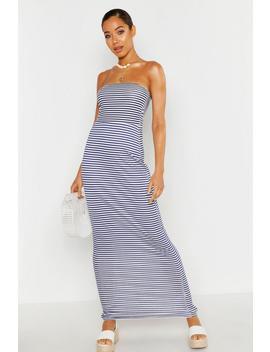 Stripe Bandeau Maxi Dress by Boohoo