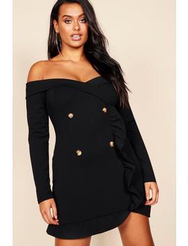 Plus Bardot Tuxedo Button Mini Dress by Boohoo