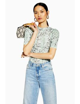 Snake Half Sleeve Mesh Top by Topshop