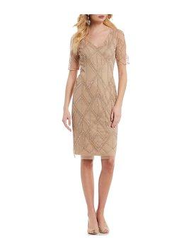 V Neck Beaded Sheath Dress by Adrianna Papell