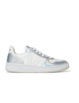 V 10 Iridescent Metallic Leather And Canvas Sneakers by Veja