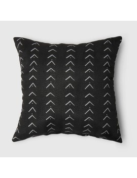 Oversize Square Vee Stripe Outdoor Pillow Black   Opalhouse by Opalhouse