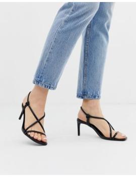 Bershka Strappy Skinny Sandals In Black by Bershka
