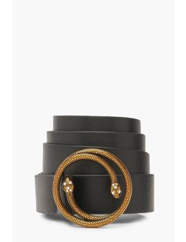 Double Snake Detail Belt by Boohoo