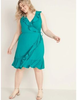 Ruffled Fit & Flare Plus Size Faux Wrap Dress by Old Navy