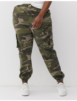 New Look Curve Camo Utility Pants In Green Pattern by New Look Curve