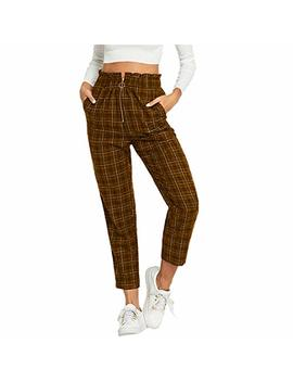 Mikey Store Womens Elastic Waist Casual Pants Single Breasted Frill Trim Plaid Pants by Mikey Store Women Clothing