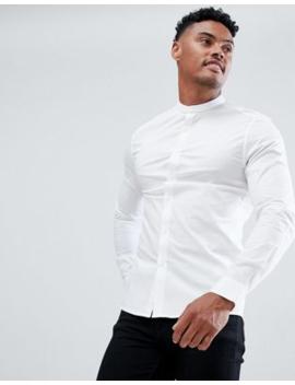 Asos&Amp;Nbsp;Design   Skinny Overhemd Zonder Kraag&Amp;Nbsp;In Wit by Asos Design