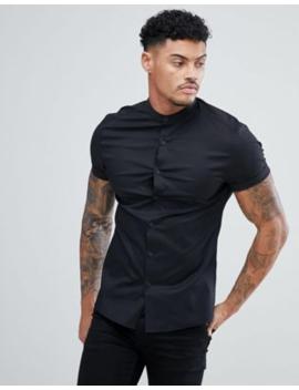 Asos Design   Skinny Overhemd Zonder Kraag, In Zwart by Asos Design