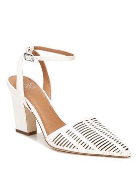 Sarto By Franco Sarto Starla Leather Ankle Strap Block Heel Pumps by Franco Sarto