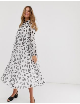 Asos Design Pleated Trapeze Midi Dress With Tie Neck In Splodge Print by Asos Design