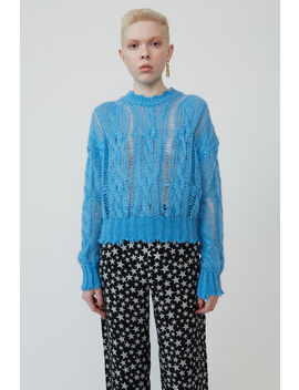 Frayed Cable Knit Sweater Sky Blue by Acne Studios