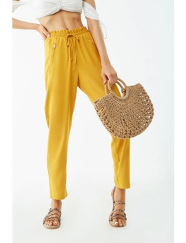 Straight Leg Paperbag Pants by Forever 21