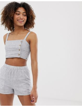 Pull&Amp;Amp;Bear Pacific Striped Crop Top Co Ord In Navy by Pull&Amp;Bear