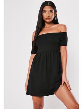 Black Basic Bardot Skater Dress by Missguided
