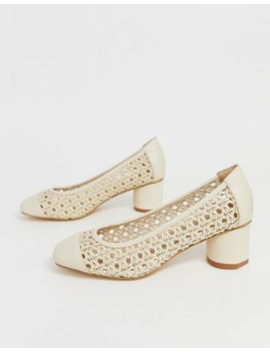 Co Wren Woven Square Toe Mid Heels by Shoes