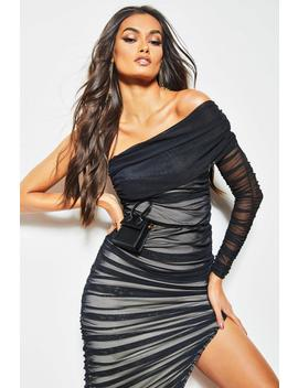 One Shoulder Ruched Double Layer Midi Dress by Boohoo