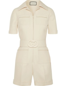Belted Wool And Silk Blend Cady Playsuit by Gucci