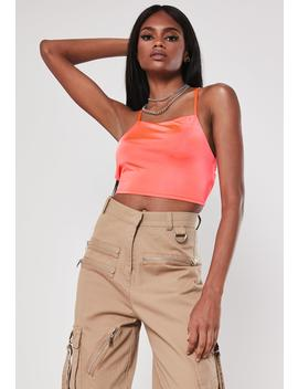 Coral Slinky Square Neck Double Strap Bralet by Missguided