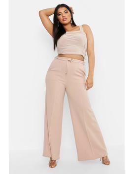 Plus Ruched Slinky Double Strap Cami by Boohoo