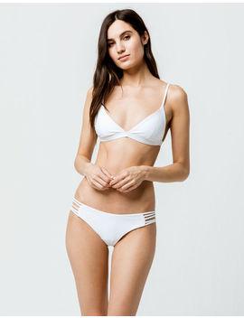 Full Tilt Cage Strap White Cheeky Bikini Bottoms by Full Tilt