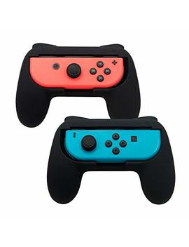 Tomsin Grips For Nintendo Switch Joy Con [Upgrade Version], Wear Resistant And Non Slip Matte Surface Handle Kit For Switch Joy Con Controllers 2 Pack (Black) by Tomsin