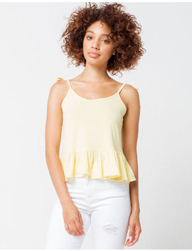 Poof Tie Straps Peplum Yellow Womens Cami by Tilly's