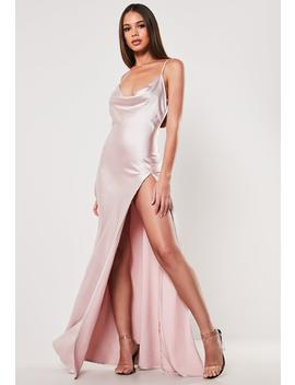 Pink Satin Cami Cowl Extreme Split Maxi Dress by Missguided