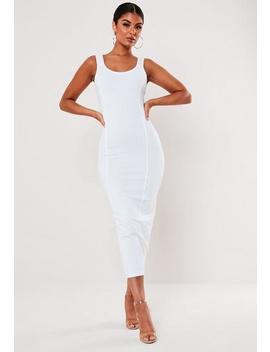 White Picot Trim Cami Seam Detail Bodycon Midi Dress by Missguided