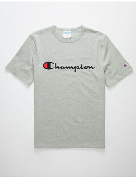 Champion Champion Script Embroidered Heather Mens T Shirt by Champion