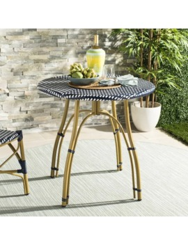 Safavieh Outdoor Living Kylie Navy/ White Rattan Bistro Table by Safavieh