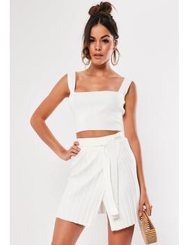 White Knitted Co Ord Rib Tie Waist Mini Skirt by Missguided