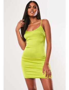 Lime Stretch Satin Bodycon Mini Dress by Missguided