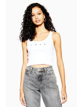 White Love Picot Trim Vest by Topshop