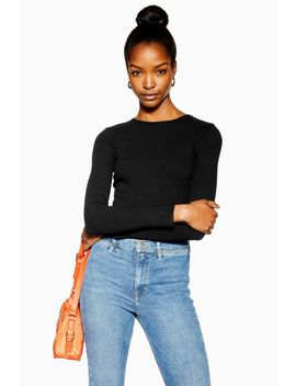 Black Long Sleeve Picot Trim Top by Topshop