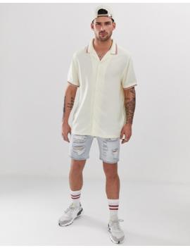 Asos Design Regular Fit 90's Style Viscose Shirt With Rib Collar &Amp; Cuffs In Ecru by Asos Design