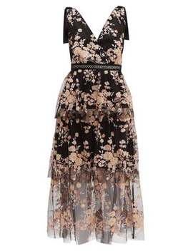 Midnight Floral Sequinned Tiered Tulle Midi Dress by Self Portrait