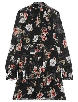 Layered Button Detailed Floral Print Silk Georgette Mini Dress by Nicholas