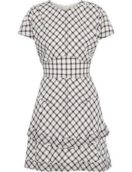 Tiered Checked Crepe Mini Dress by Derek Lam 10 Crosby