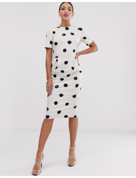 Asos Design Tall Midi Wiggle Dress In Mono Spot by Asos Design