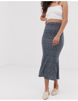 Asos Design Tall Jersey Midi Slip Skirt In Grunge Floral Print by Asos Design