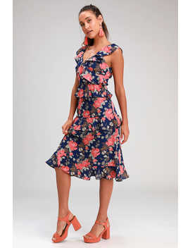 Fleur Evermore Navy Blue Floral Print Ruffled Midi Dress by Lulus