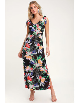 Beloved Becky Black Floral Print Maxi Dress by Lulus