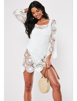 White Crochet Bardot Flare Sleeve Mini Dress by Missguided